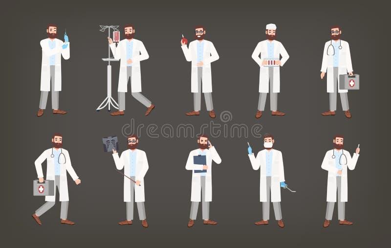 Paquete de doctor, de médico o de cirujano de sexo masculino colocándose en diversas actitudes El sistema del hombre barbudo se v libre illustration
