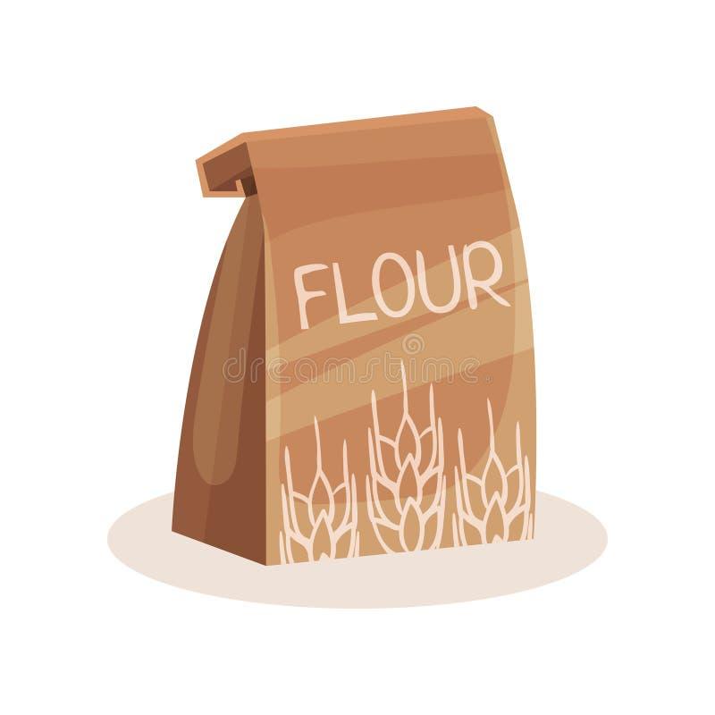 Paquete de harina, hornada e ingrediente el cocinar en el ejemplo del vector de la bolsa de papel en un fondo blanco stock de ilustración