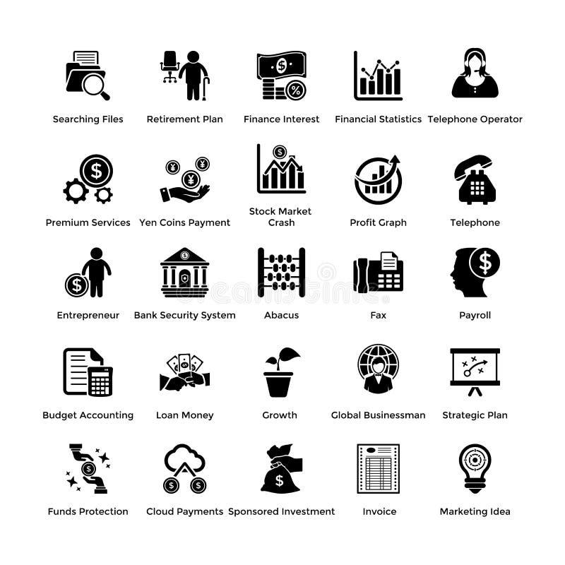 Paquete de iconos del negocio y de las finanzas del Glyph ilustración del vector