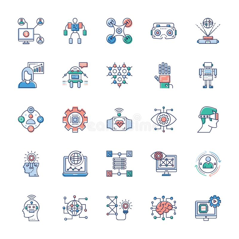 Paquete de iconos modernos de la tecnolog?a ilustración del vector