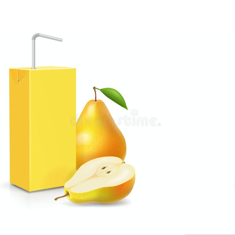 Paquete de jugo de la pera con el ejemplo realista del vector 3d del icono de la paja de beber ilustración del vector