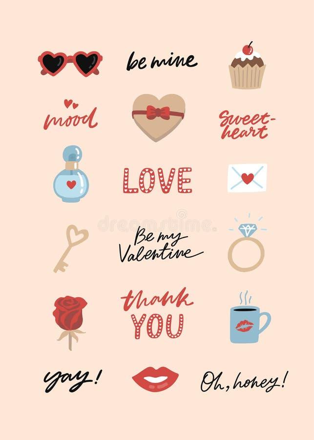 Paquete de la etiqueta engomada del día de tarjeta del día de San Valentín ilustración del vector