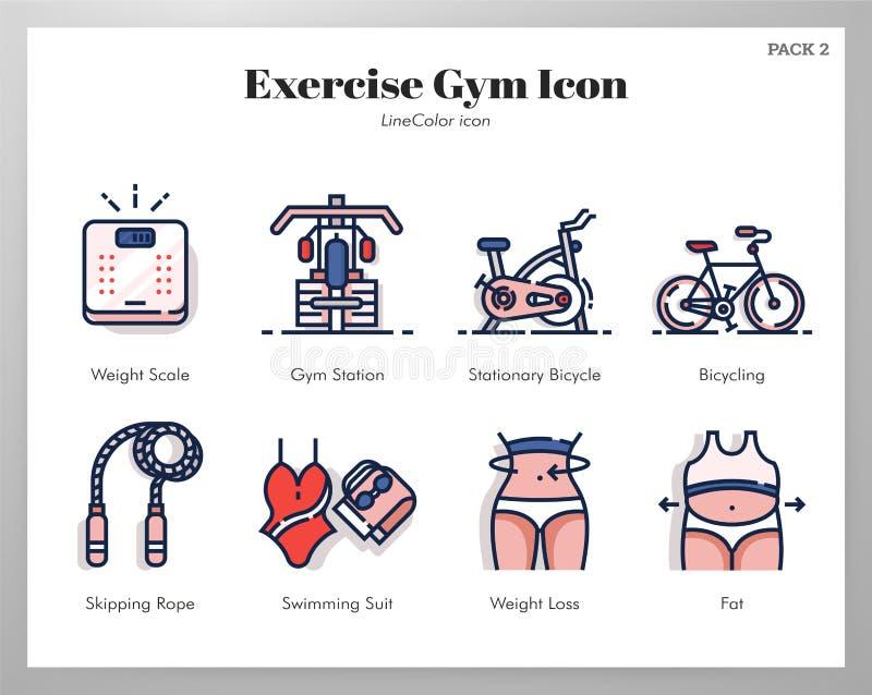 Paquete de LineColor de los iconos del gimnasio del ejercicio ilustración del vector