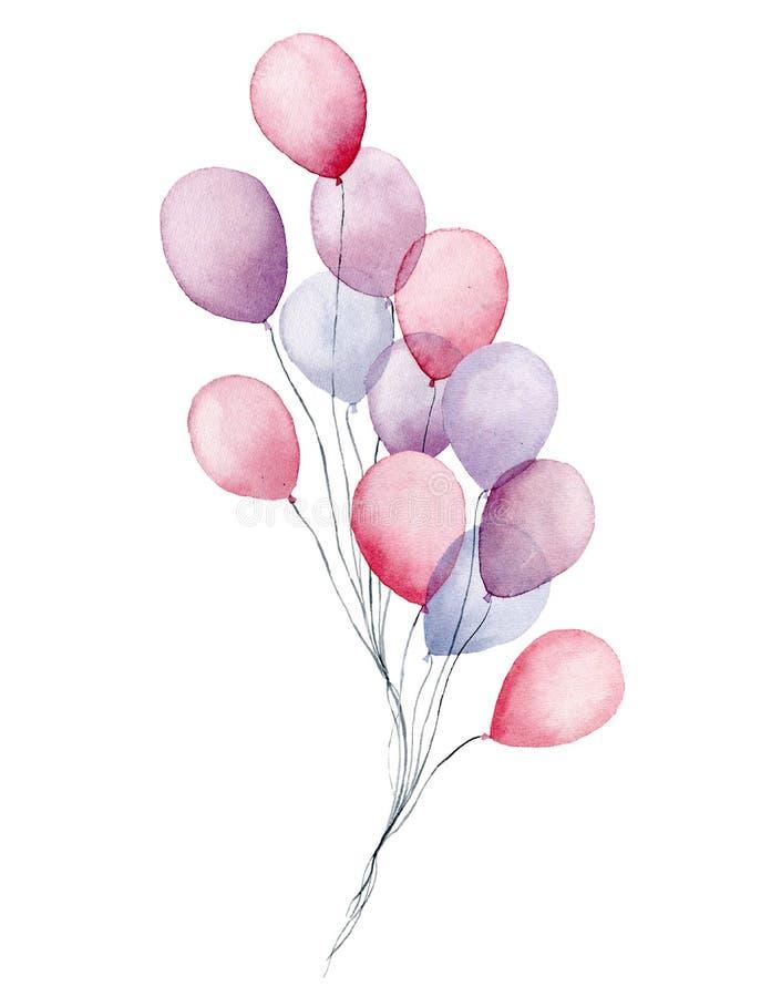 Paquete de los balones de aire de la acuarela Rosa pintado a mano del partido, azul, globos púrpuras aislados en el fondo blanco  stock de ilustración