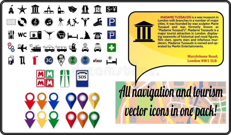 Paquete de los iconos de la navegación del vector para el viaje y el tou stock de ilustración