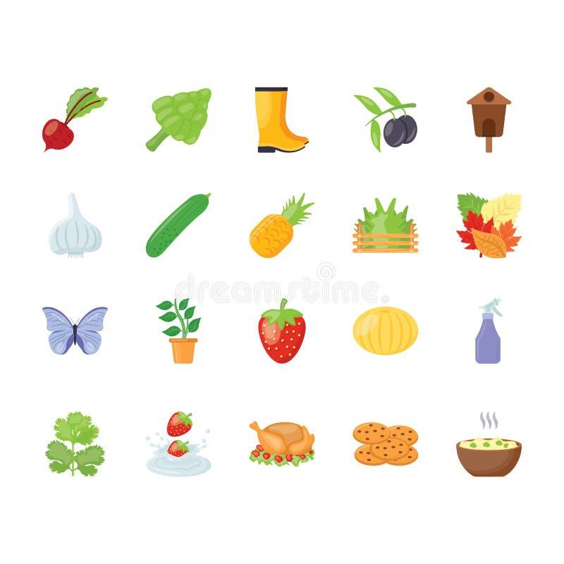 Paquete de los iconos de la acción de gracias ilustración del vector