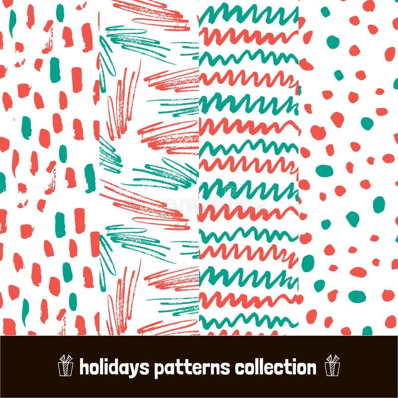Paquete de los modelos de la Navidad Cepillo seco dibujado mano dibujado mano inconsútil del arte del modelo del día de fiesta Il stock de ilustración