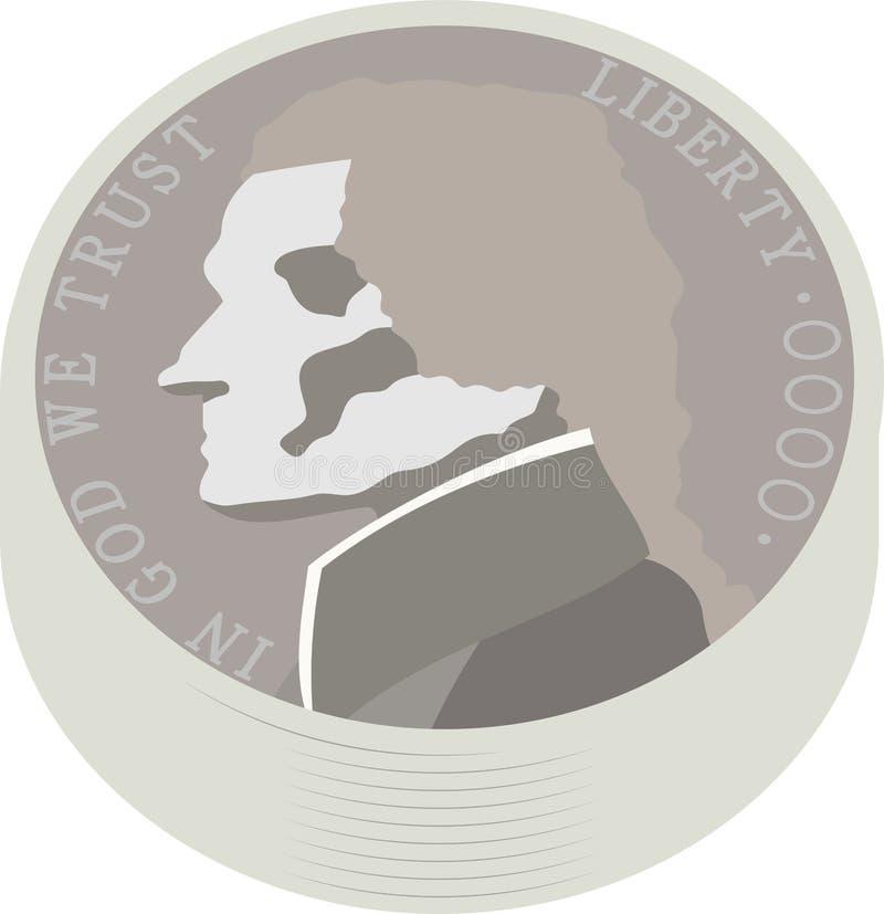 Paquete de moneda americana de 5 centavos de los E.E.U.U. ilustración del vector