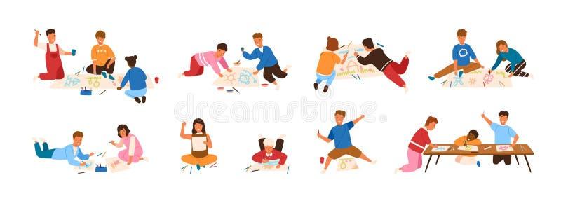 Paquete de niños que pintan y que dibujan en el papel aislado en el fondo blanco Afición creativa para los niños Muchachos lindos ilustración del vector
