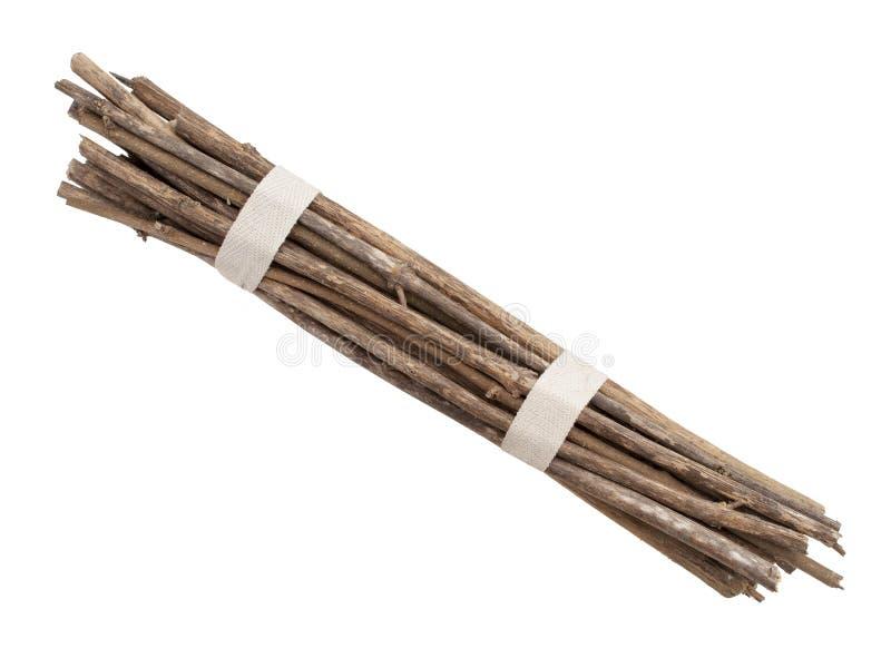 Paquete de palillos, ramitas, aisladas sobre blanco Dos lazos foto de archivo libre de regalías