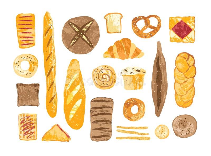 Paquete de panes y productos cocidos hechos en casa de los diversos tipos, formas y tamaños aislados en el fondo blanco - pan stock de ilustración