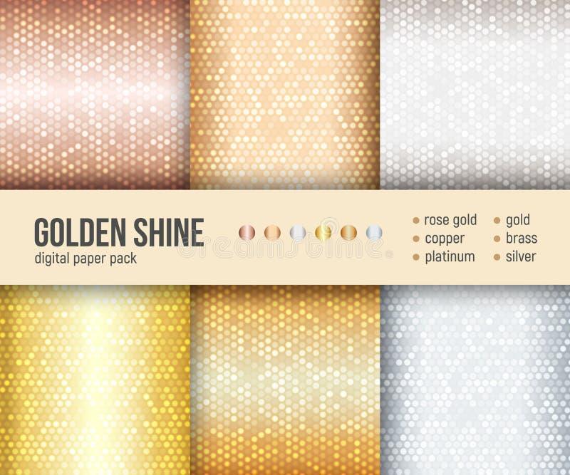 Paquete de papel de Digitaces, 6 modelos abstractos, textura de oro de la hoja, fondo del gris de plata ilustración del vector
