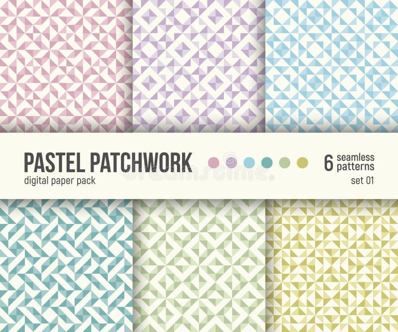 Paquete de papel de Digitaces, 6 modelos abstractos, texturas en colores pastel del remiendo, colores en colores pastel pálidos stock de ilustración