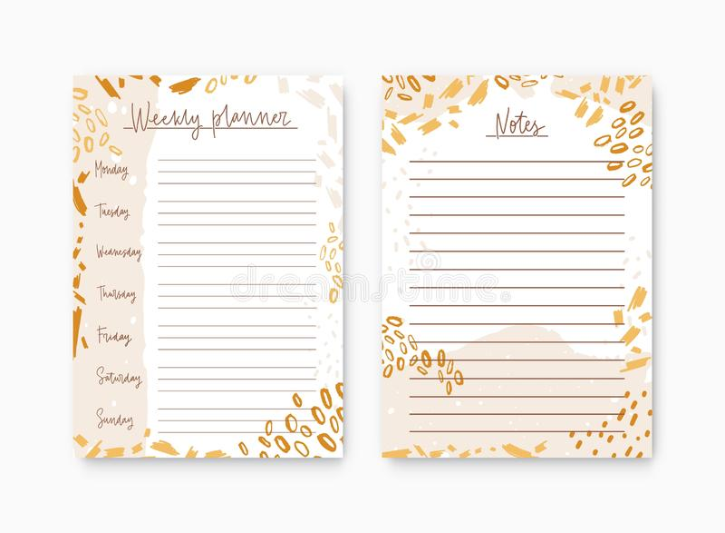 Paquete de planificador y de lista semanales para las plantillas de las notas adornadas por las manchas coloridas de la pintura P stock de ilustración