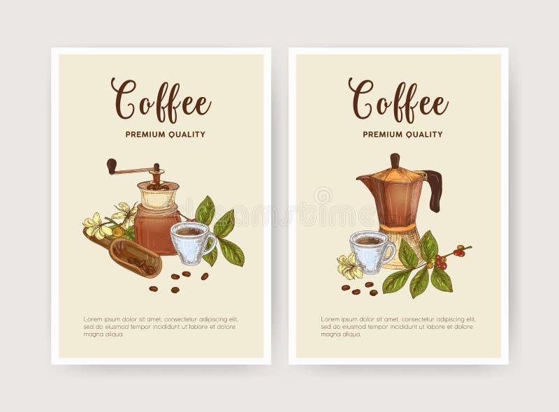 Paquete de plantilla del aviador, del cartel o de la tarjeta con la taza de café, de pote del moka, de cucharada y de amoladora B stock de ilustración