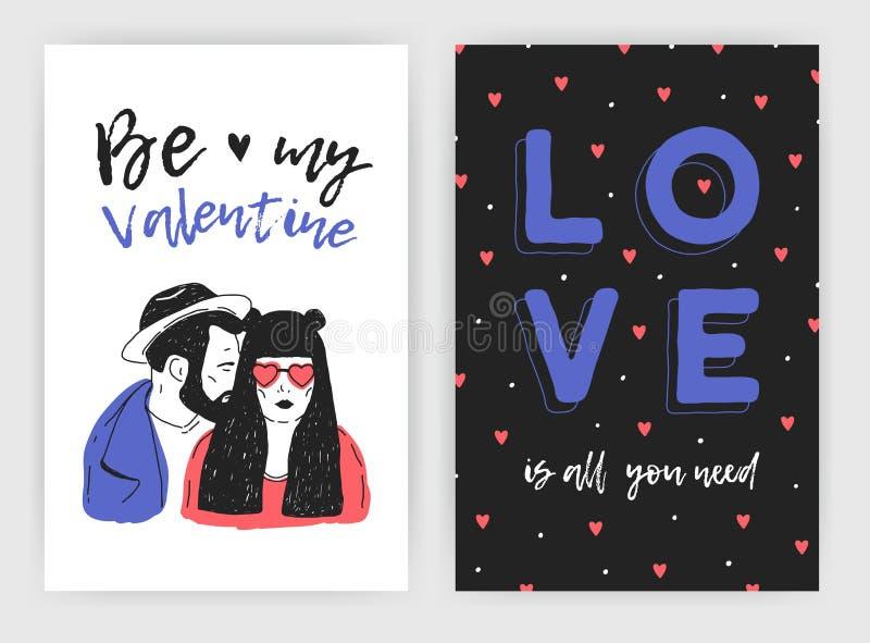 Paquete de tarjeta de felicitación del día de la tarjeta del día de San Valentín s, de invitación del partido o de plantillas del libre illustration
