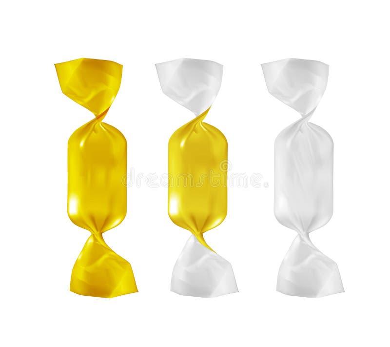 Paquete del bocado de la comida de la hoja de oro para el caramelo y otros productos stock de ilustración