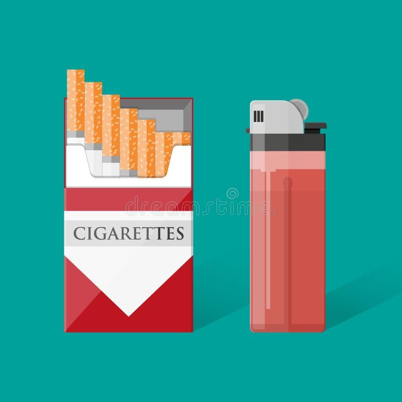 Paquete del cigarrillo con los cigarrillos y el encendedor libre illustration