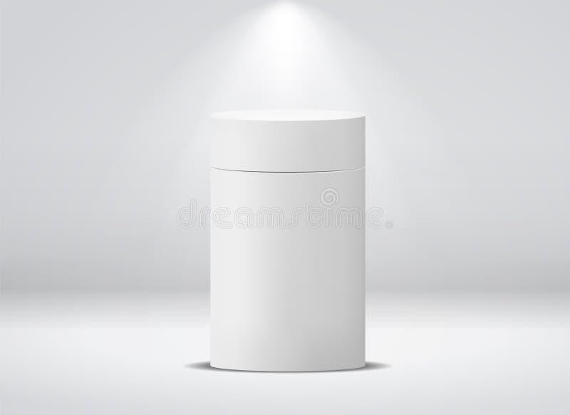 Paquete del cilindro Caja de papel vacía de la ronda blanca para la maqueta aislada vector del bote del café del té de la sopa de libre illustration