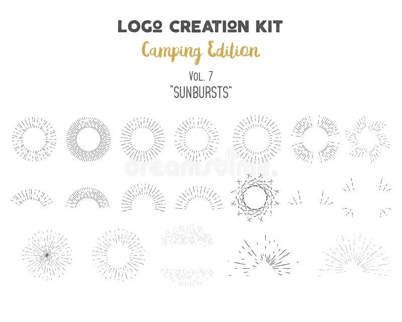 Paquete del equipo de la creación del logotipo Sistema de la edición que acampa Formas y elementos de los resplandores solares de stock de ilustración