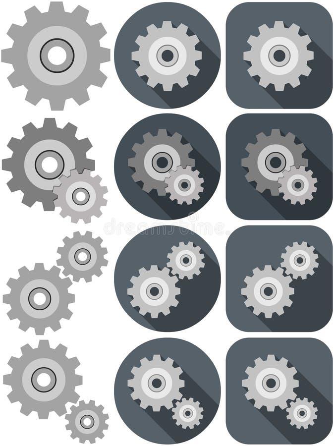 Paquete del icono de los ajustes stock de ilustración