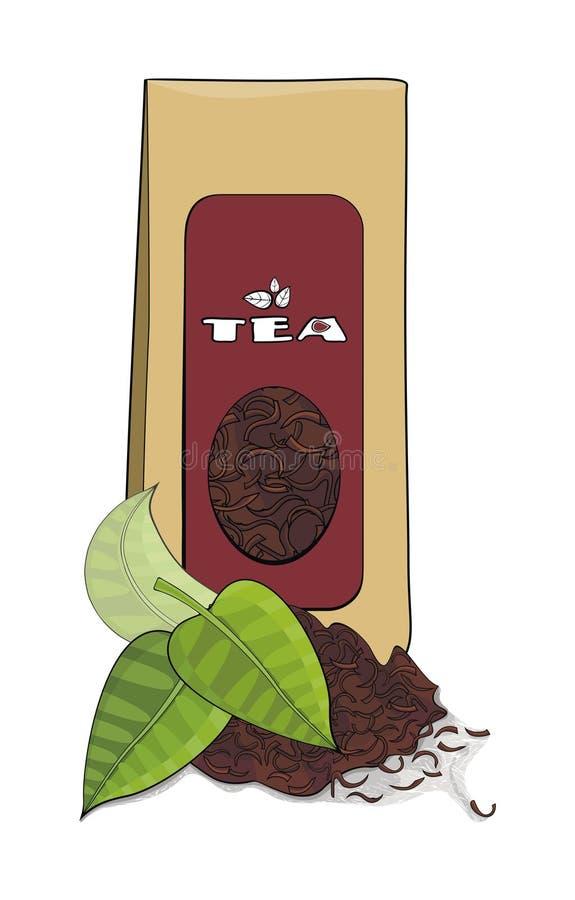 Paquete del té y brew de papel del té stock de ilustración