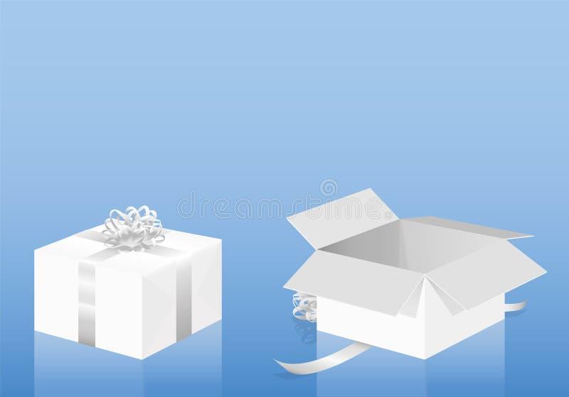 Paquete desempaquetado envuelto paquete blanco del regalo stock de ilustración