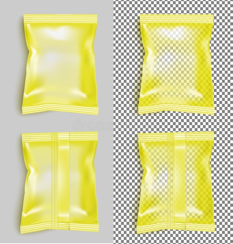 Paquete en blanco amarillo del bocado de la comida de la hoja para los microprocesadores, el caramelo y el otro favorable stock de ilustración