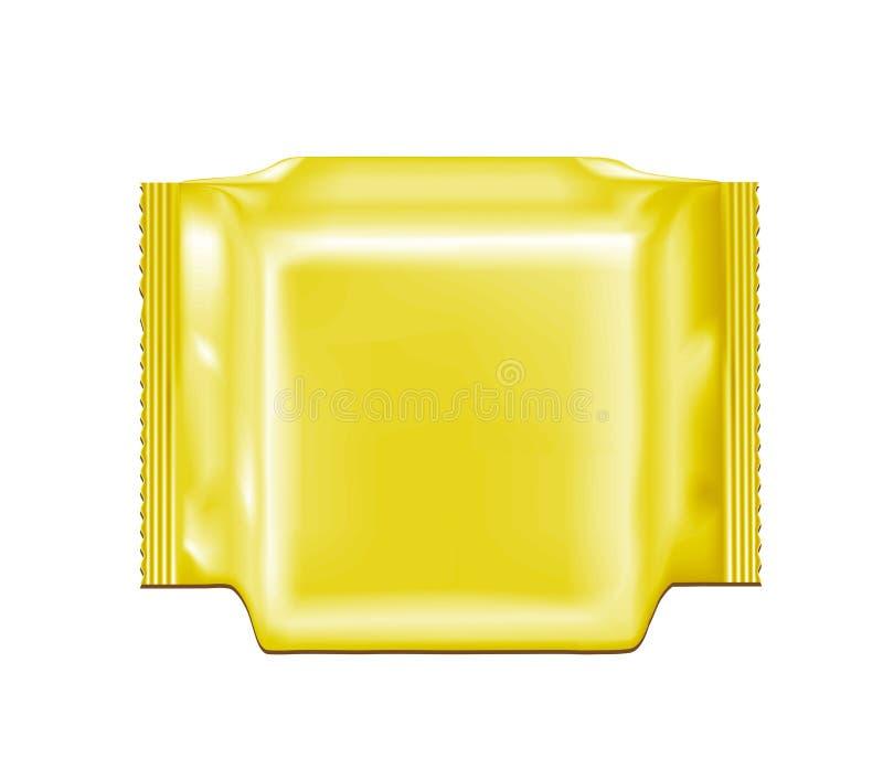 Paquete en blanco del bocado de la comida de la hoja del oro para los microprocesadores, el caramelo y otros productos stock de ilustración