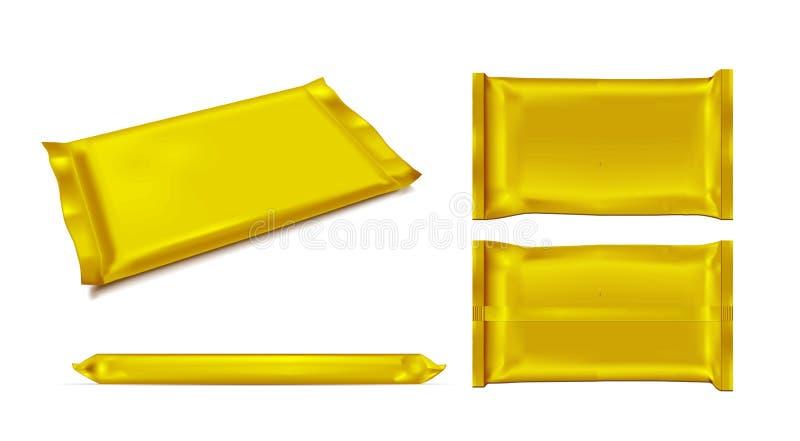 Paquete en blanco del bocado de la comida de la hoja del oro para los microprocesadores, el caramelo y otros productos libre illustration