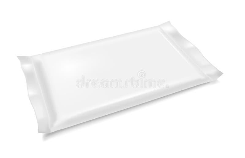 Paquete en blanco blanco del bocado de la comida de la hoja para los microprocesadores, el caramelo y el otro golpecito stock de ilustración