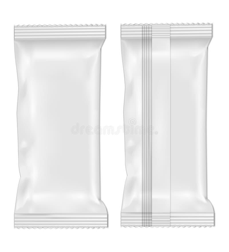 Paquete en blanco blanco del bocado de la comida de la hoja para los microprocesadores, el caramelo y otros productos stock de ilustración