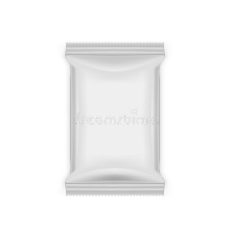 Paquete en blanco blanco del bolso de la bolsita del bocado de la comida de la hoja ilustración del vector