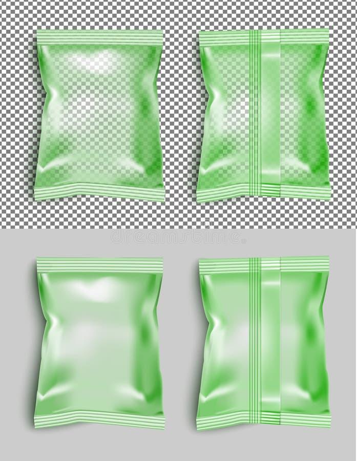 Paquete en blanco verde del bocado de la comida de la hoja para los microprocesadores, el caramelo y el otro golpecito libre illustration