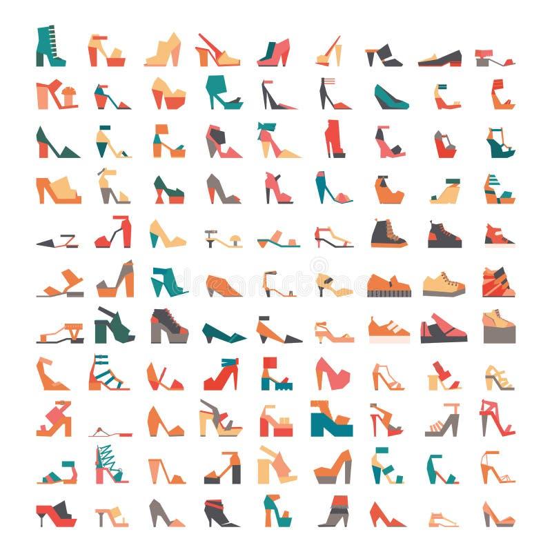 Paquete grande con los iconos planos contemporáneos elegantes de los zapatos, dibujados en estilo geométrico y aislados en el fon ilustración del vector