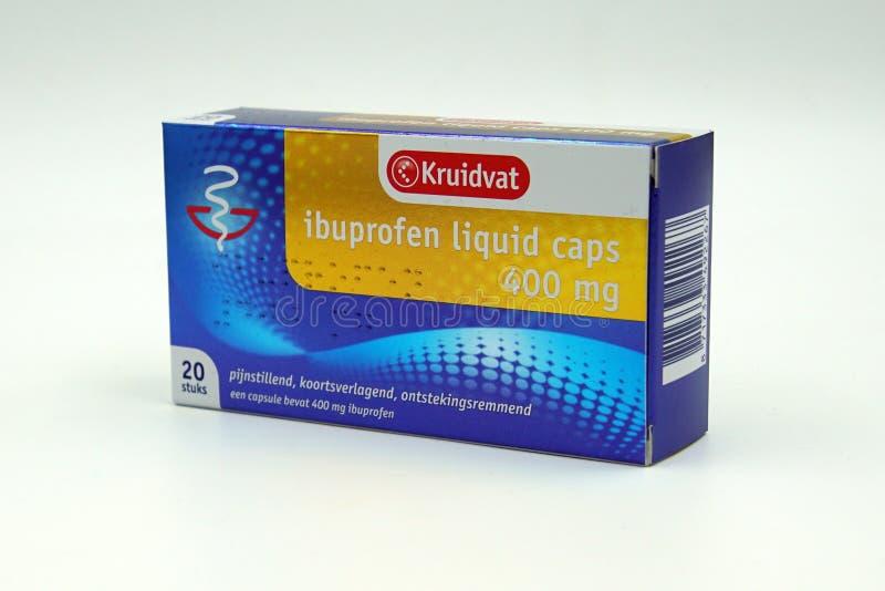 Paquete holandés de magnesio líquido del ibuprofen 400 de los casquillos de Kruidvat fotos de archivo