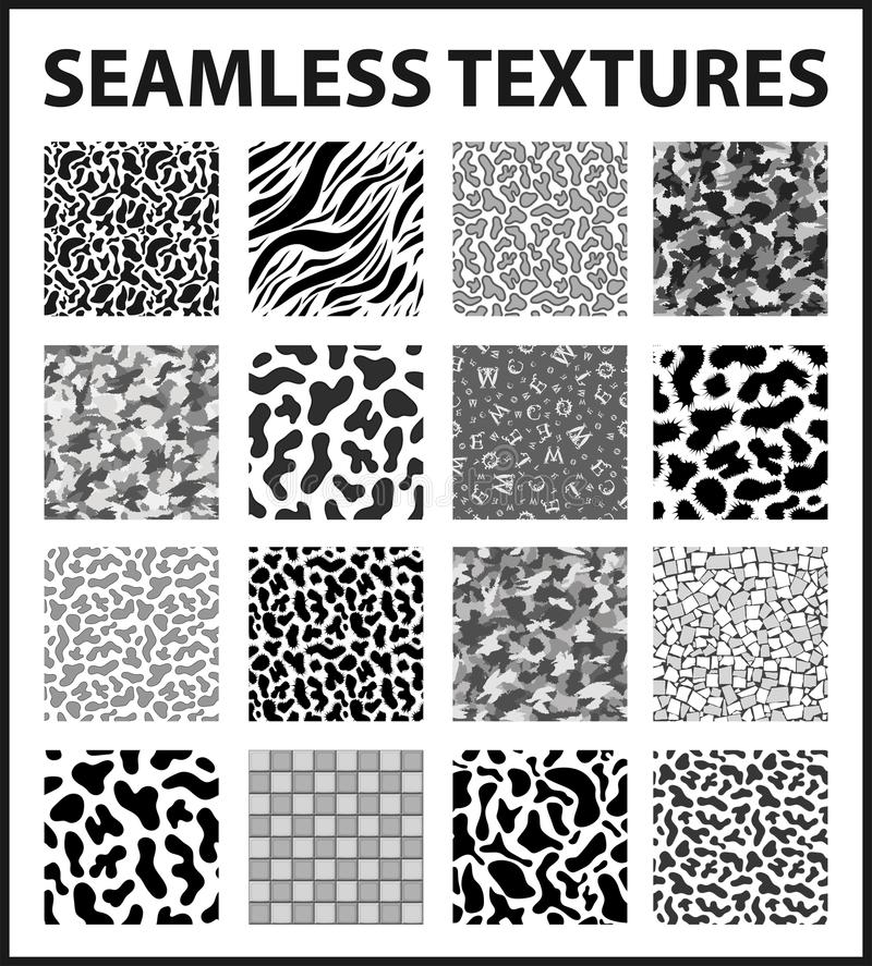 Paquete inconsútil blanco y negro de las texturas ilustración del vector