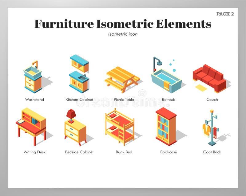 Paquete isométrico de los elementos de los muebles stock de ilustración
