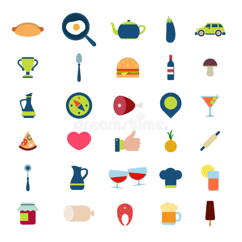 Paquete móvil del icono del interfaz del app del web del vector de la comida del menú plano de la bebida ilustración del vector