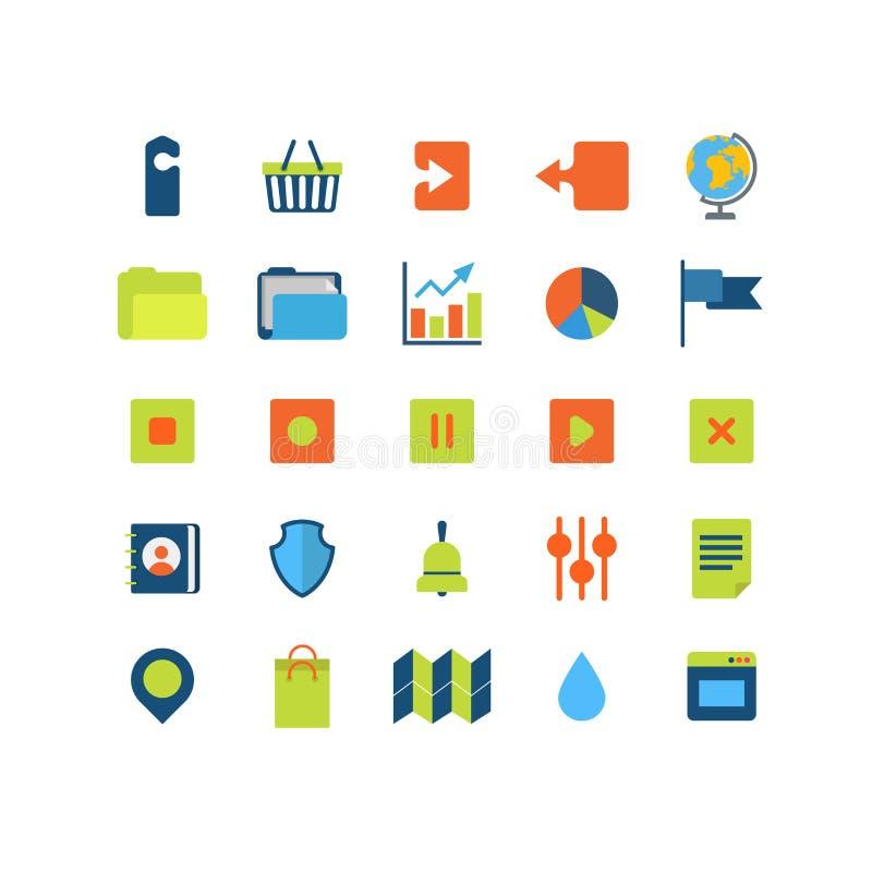Paquete móvil del icono del interfaz del app del web del vector plano: transferencia directa de la carga por teletratamiento libre illustration