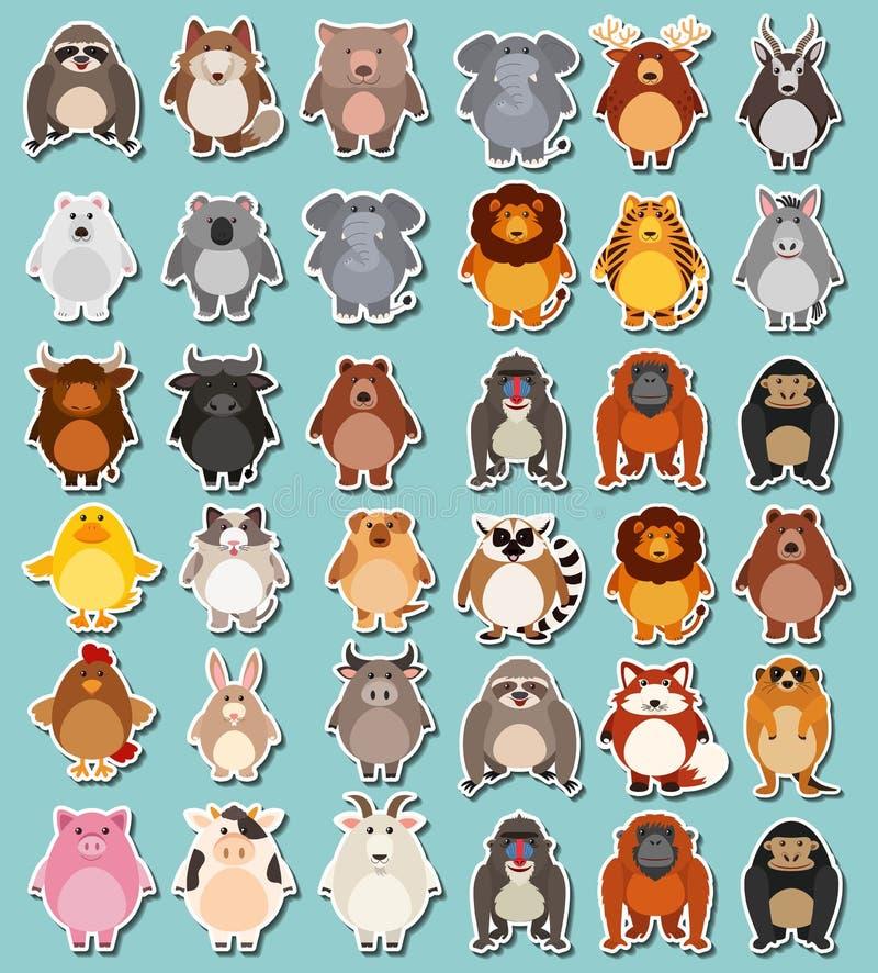 Paquete mega de la etiqueta engomada de animales ilustración del vector