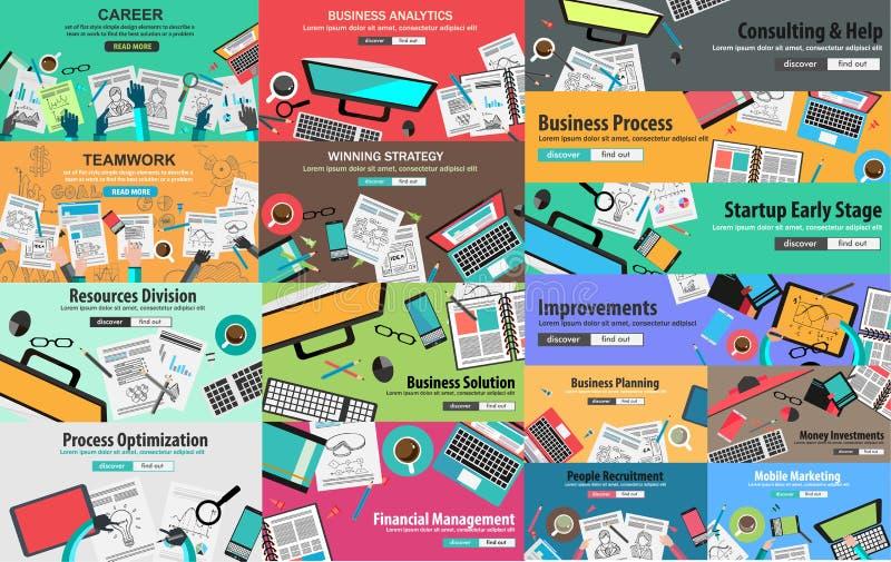 PAQUETE MEGA de los conceptos de diseño para la estrategia empresarial ilustración del vector
