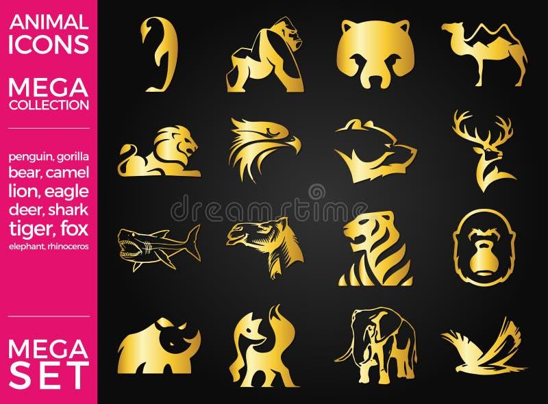 Paquete mega e iconos mega de los animales del vector del sistema fijados stock de ilustración