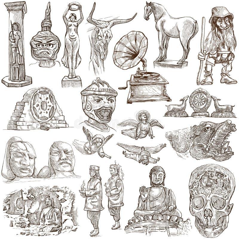 Paquete nativo y viejo del arte - a pulso bosquejando stock de ilustración