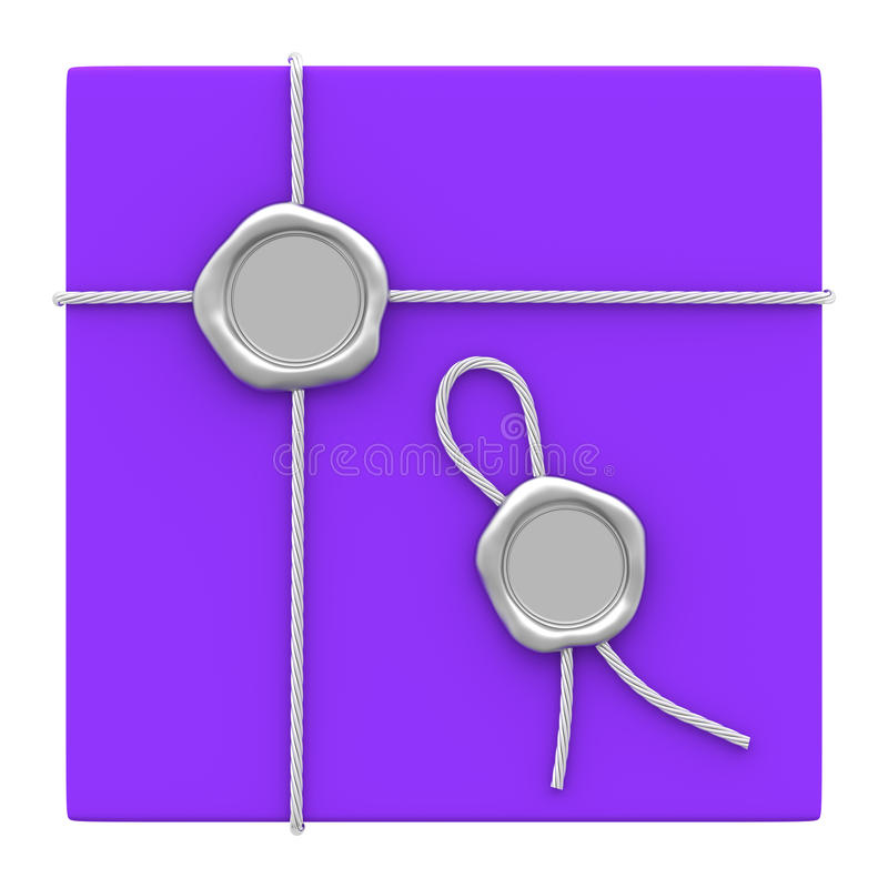 Paquete púrpura del regalo del sello de plata de la cera ilustración del vector