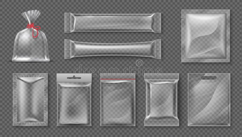 Paquete plástico Maqueta clara realista del bolso, sistema transparente del paquete del producto alimenticio 3d, hoja brillante e ilustración del vector