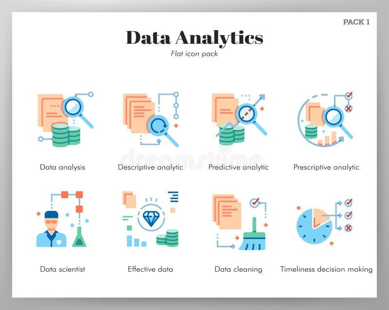 Paquete plano de los iconos del analytics de los datos stock de ilustración