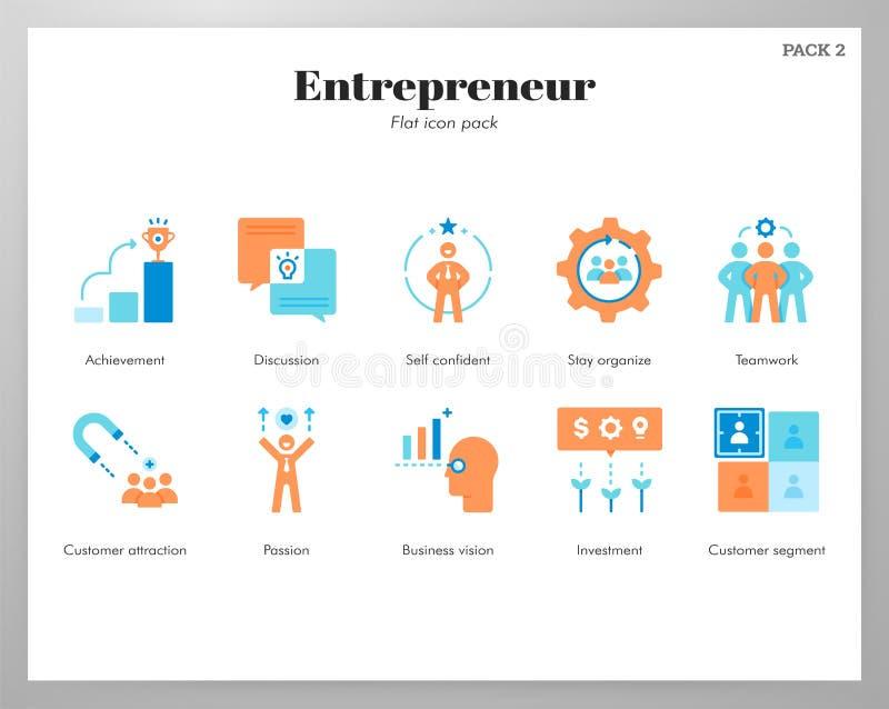 Paquete plano de los iconos del empresario stock de ilustración