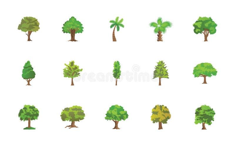 Paquete plano de los iconos del vector de los árboles stock de ilustración