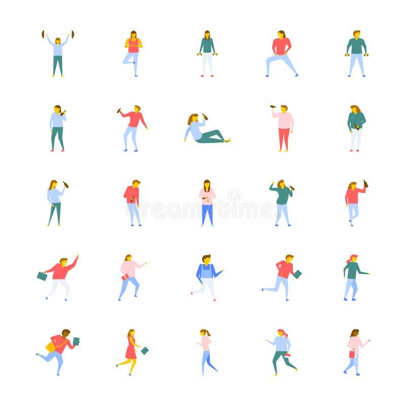 Paquete plano de los iconos del vector de gente libre illustration